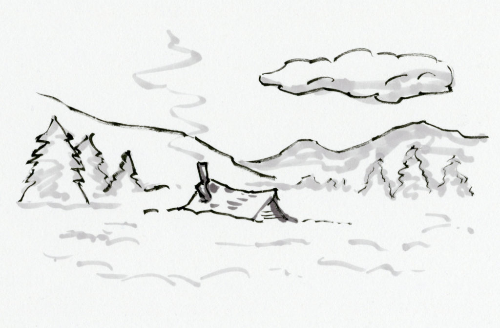 Illustration of roof of cabin poking out of deep snow.